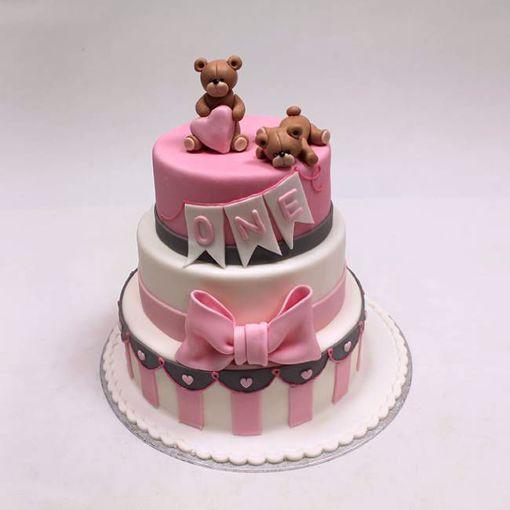 Afbeelding van Brown bear on pink taart