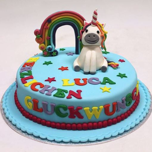 Afbeelding van Unicorn rainbow taart