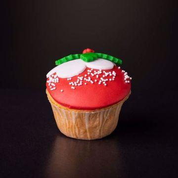 Afbeeldingen van Kerst muffin rood kerstbal