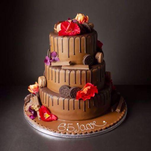 Afbeelding van Dripping chocolate taart