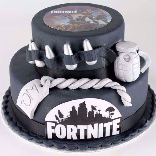 Afbeelding van Fortnite black and grey taart