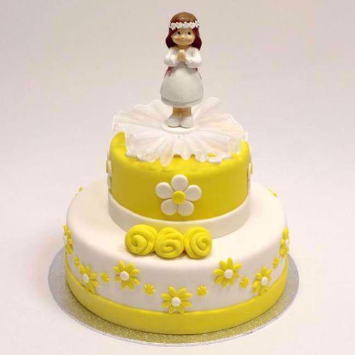 Afbeelding van Gele ronde roosjes taart