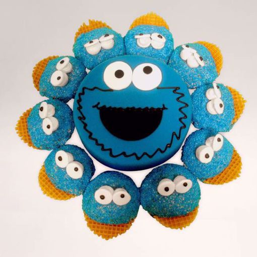 Afbeelding van (M058) Cupcake taart Cookie monster