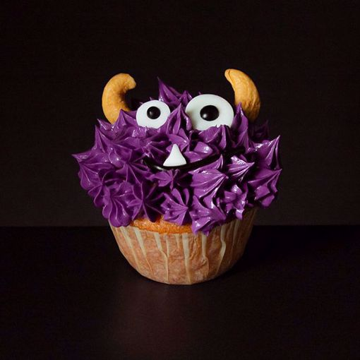 Afbeelding van Halloween muffin (Griezeltje paars)