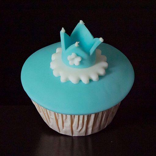 Afbeelding van Muffin baby kroontje blauw