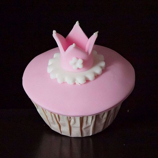 Afbeelding van Muffin baby kroontje roze