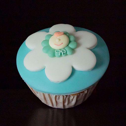 Afbeelding van Muffin babyflower blauw