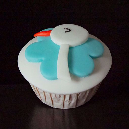 Afbeelding van Muffin baby ooievaar blauw