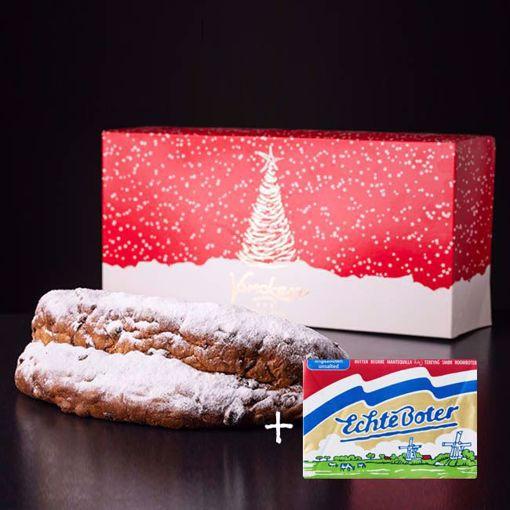 Afbeelding van Kerststol in luxe kerstverpakking met pakje boter
